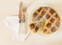 Neapolitan Easter pie with wheat and ricotta on white wooden table Royalty Free Stock Photos