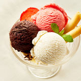 Neapolitan Flavored Ice Cream Dessert Sundae royalty free stock photos