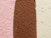 Neapolitan Ice Cream. Background three flavors Stock Photos