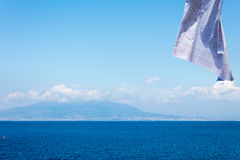 Neapolitan landscape with clothes. Landscape of neapolitan coast fron Sorrento with hanging clothes royalty free stock images