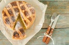 Neapolitan pie on wrapping paper Royalty Free Stock Photos