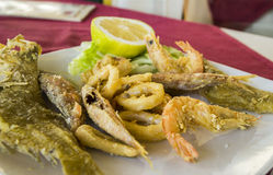 Neapolitan plate with fried fish and seafood. Daily  fresh Neapolitan plate with fried fish and seafood Royalty Free Stock Images
