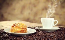 Neapolitan Sfogliatella riccia with espresso Stock Photo