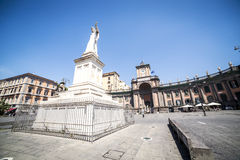 Neapolitan square with a monument in the center, Italy Royalty Free Stock Photo