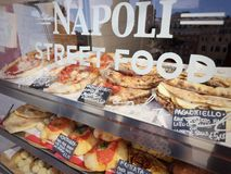 Neapolitan Street food. Stand with pizza royalty free stock photos