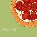 Neapolitanische Pizza des Vektors mit Weißkäse stock abbildung