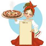 Neapolitanischer Pizzachef mit Pizza und Menü Stockbilder