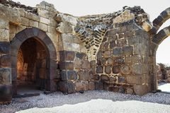 Ruins of the 12th-century fortress of the Hospitallers - Belvoir - Jordan Star - in the Jordan Star National Park near Afula town. Near Afula, Israel, May 17 stock image