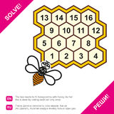 Near a bee honeycomb, which depicts figures. It is necessary to solve the puzzle. Vector illustration Royalty Free Stock Photo