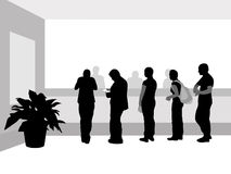 Near cash desk. People stand in a row near cash desk royalty free illustration