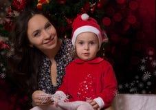 Near Christmas tree royalty free stock image