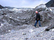 Near the edge of Fox glacier in New Zealand Royalty Free Stock Photo