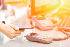 Near field communication NFC mobile phone payment. Royalty Free Stock Photography