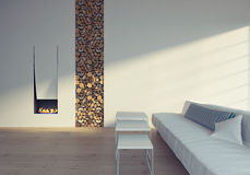 Near fireplace. White sofa near the fireplace Royalty Free Stock Photography