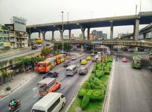 Near freeway traffic in bangkok Royalty Free Stock Photos