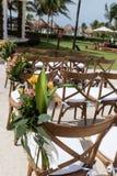 Near Gazebo Mexico Riviera Maya. Gazebo Mexico Riviera MayaFlowers on chairs royalty free stock image