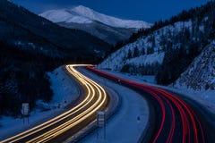 Traffic on I-70, Colorado. Near Georgetown, Colorado. Near the Eisenhower Tunnel stock image
