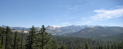 Near Glacier Point at Yosemite. Panorama image of Panorama View near Glacier Point, Yosemite in the Sierra Nevadas stock photography