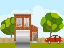 Near hus för bil Arkivbild