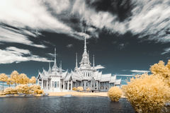 Near infrared photography Wat Sorapong public temple in Thailand  treasure of Buddhism Landmark Stock Photos