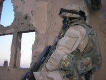 Near Kandahar. A Bulgarian soldier on guard duty in Tarnak Farm near Kandahar, Afghanistan. (Tarnak Farm was one of Osama bin Laden's hideouts stock images
