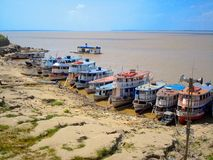Ferry boats on the Amazon royalty free stock image