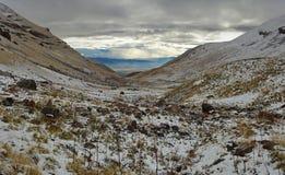 Near Mountain Aragats Armenia. Autumn in Armtnia. Mountain sky peaks snow sun blue snow Armenia Caucasus sky Sun Stock Photo