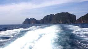 Near Phi Phi Ley. Ko Phi Phi Ley is an island of the Phi Phi archipelago, in the Andaman Sea stock video