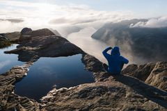 Panorama of Lysefjord, Norway Royalty Free Stock Photography
