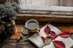 Rainy mood for the book. Near the rainy window with raindrops falling on the glass lie: autumn leaves vase with chrysanthemums,open book, a cup of coffee royalty free stock photography