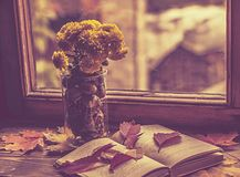 Rainy mood for the book. Near the rainy window with raindrops falling on the glass lie: autumn leaves vase with chrysanthemums,open book royalty free stock photos