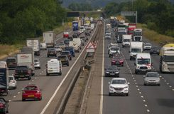 Heavy traffic on the M1 Motorway. NEAR SALFORD, ENGLAND, UK - July 4, 2018: Heavy traffic on the M1 motorway near Salford Bedfordshire England UK stock photography