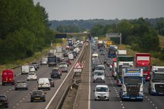 Heavy traffic on the M1 Motorway. NEAR SALFORD, ENGLAND, UK - July 4, 2018: Heavy traffic on the M1 motorway near Salford Bedfordshire England UK royalty free stock photography