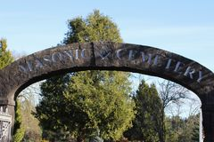 Stone archway at entrance to Masonic Cemetery, Canyonville, Oregon Royalty Free Stock Photos