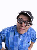 Near-sighted person. Myopic man, with glasses of anus glass, joking Royalty Free Stock Photos