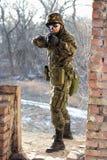 near soldatvägg för tryckspruta fotografering för bildbyråer