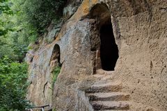 Old Etruscan cave near Sorano in Tuscany. Near Sorano in Tuscany, you can find very old Etruscan cave royalty free stock photo