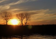 Sunset on the White mud River, Manitoba Royalty Free Stock Photography