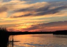 Sunset on the White mud River, Manitoba Stock Photos