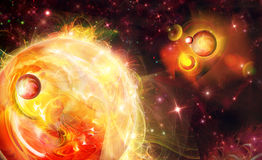 Near a sun. There is a planet and nebula Royalty Free Stock Image