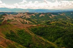 Landscape near town civita with deserts and land destroyed with erosion badlands stock image