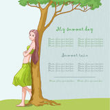 Near the tree. Young girl near the green tree stock illustration
