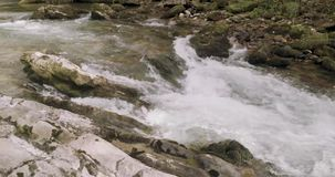 Near view of the rapids of a river. In the north of Spain with the view of little rocks stock video footage