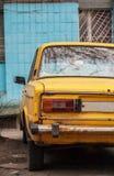 Near the wall is a blue yellow old Soviet machine, Kiev, Ukraine Royalty Free Stock Photo