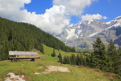 Beautiful moutain view, panorama, from bench. Near Wengernalp with Eiger, Mönch, Jungfrau regio. Beautiful mountain view from bench in the alps. Mountains royalty free stock image