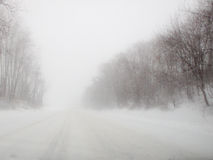 Near-Zero Visibility on Roads Royalty Free Stock Images