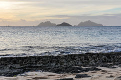 Nearby islands from Mana Sunset Beach in Fiji Stock Photos