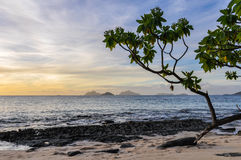 Nearby islands from Mana Sunset Beach in Fiji Stock Photo