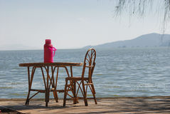 Nearby lake furniture Stock Photography