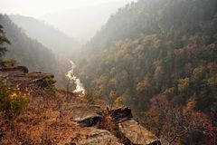 View of the Tallulah River in the Blue Ridge Mountains royalty free stock images